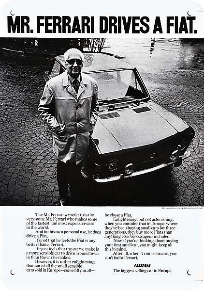Details about 1971 FIAT Car Replica Metal Sign - MR. ENZO FERRARI