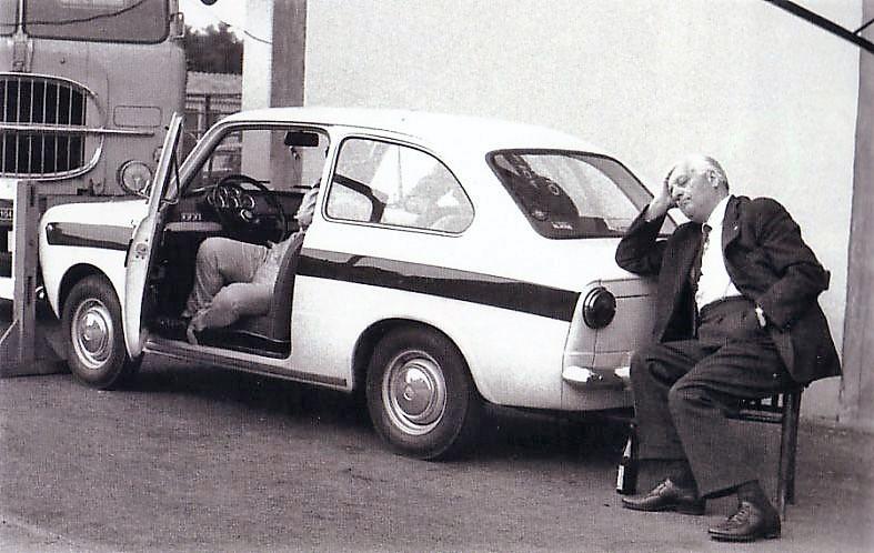 Enzo Ferrari having a little nap in Monza, 1965 Enzo Ferrari having a little nap in Monza, 1965