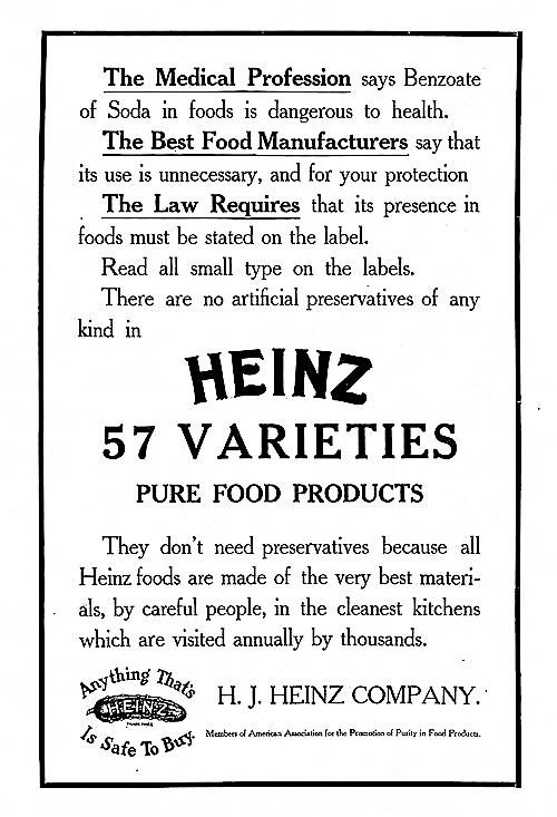 Heinz 57 Varieties. Pure Food Products, Marketing Materials, 1909.