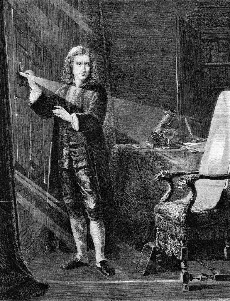 Isaac Newton sunlight study optics prism engraving 1879