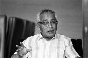 Nippon Gakki (Yamaha) President Genichi Kawakami speaks during the Asahi Shimbun interview at the company headquarters on August 5, 1975 in Hamamatsu, Shizuoka, Japan