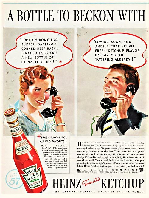 One of the vintage advertising posters of Heinz Tomato Ketchup