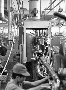 The production line at the Yamaha Motor factory in Japan, circa 1965.