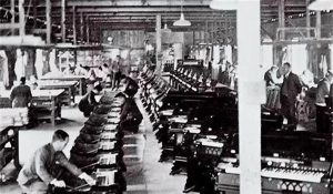 Workers assemble reed organs in the Nippon Gakki factory circa 1890