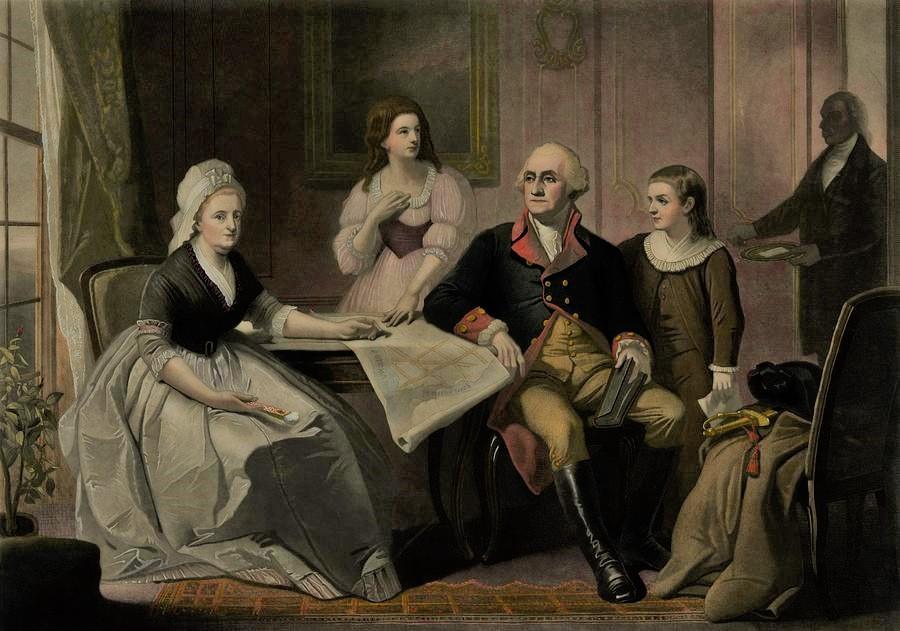 George And Martha Washington Sitting
