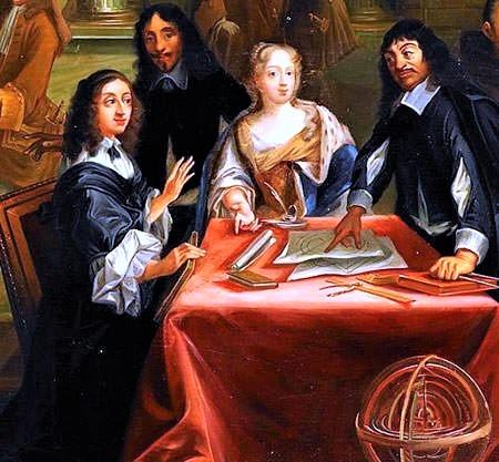 Queen Christina of Sweden with Rene Descartes
