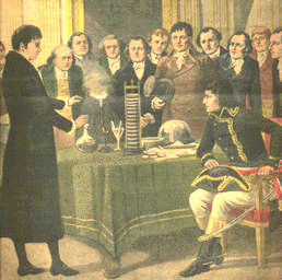 Volta demonstrates his battery to Napoleon Bonaparte in 1801