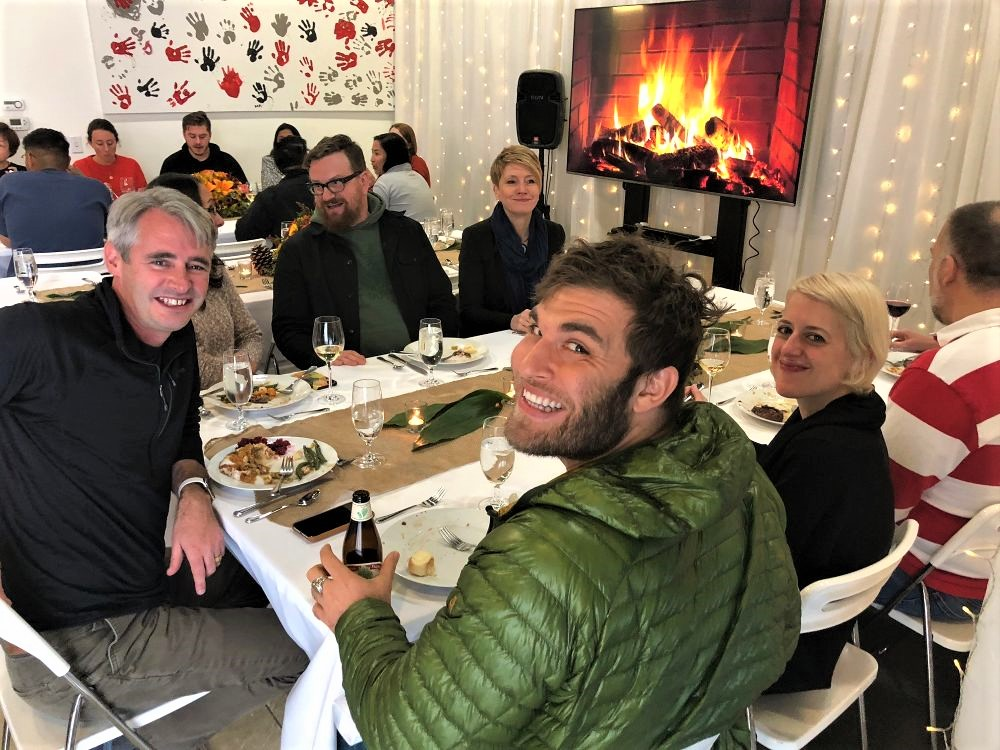 mike mccue enjoys thanksgiving lunch with the team his favorite holiday