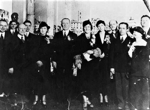 Guglielmo Marconi (in the middle) and Luigi Ranieri (second from the left) at the Chicago Exposition in 1933 or 1934. (Reproduced courtesy of the Ranieri family.)