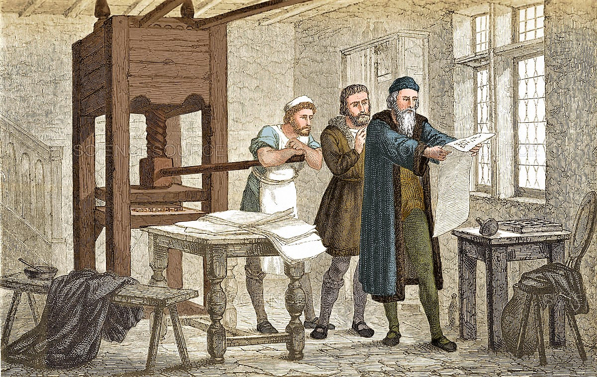 Gutenberg inspecting the first proof sheet of his Bible printed form