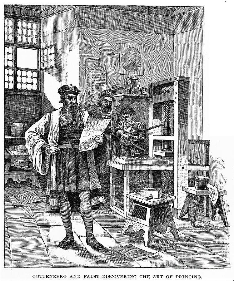 Johannes Gutenberg C 1400-1468 He German Stock Vector