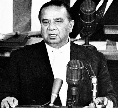 Prime Minister Huseyn Shaheed Suhrawardy addressing to the Public