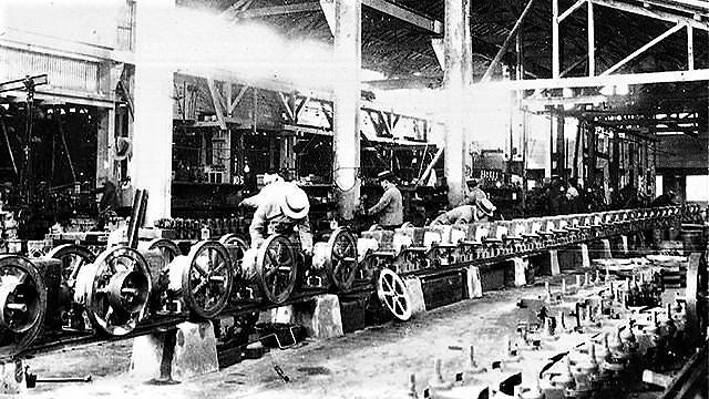 The 70-meter-long conveyor line
